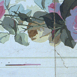 Three border strips printed side by side on one length; continuous vine of pink roses shaded with lavender, small purple flowers.