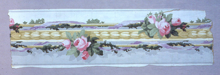 a) Four border strips printed side by side on one length. Narrow lavender ribbons on either side of band of yellow flowers and tiny pink rose clusters; on white and gray ground; b) One strip of same.
