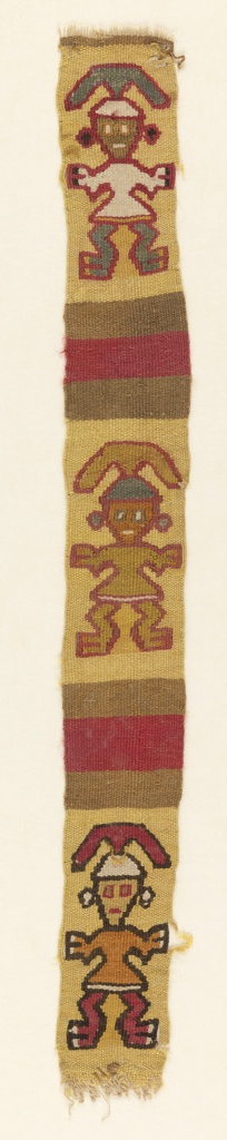 Strip with three standing figures with a headdresses on a yellow background. The three figures are separated from each other by two bands, each by a band of red with a band of tan at top and bottom.