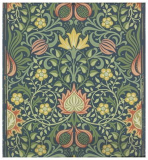Axial design of conventionalized pomegranates along with a variety of flowers and foliage rinceaux. Printed in greens, reds and browns on blue ground.