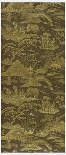 Chinoiserie-style paper, containing motifs of couple walking under a parasol, pagodas, bridges, mountains and trees. Embossed areas printed in gold against a deep brown background. 