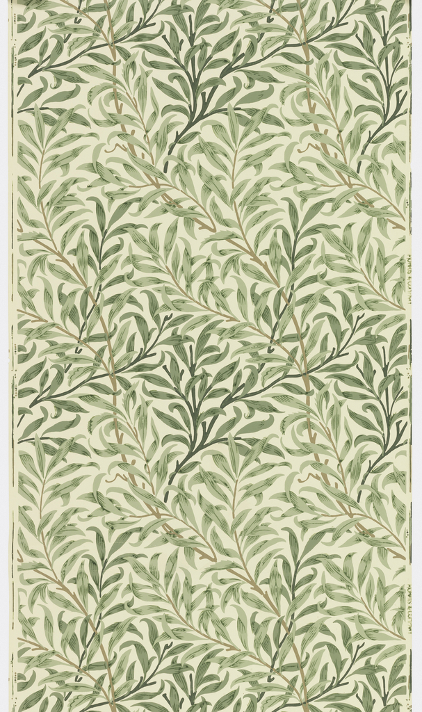 Serpentine arrangement of leaves and branches of willow. Green leaves with dark green veining on off-white ground.
