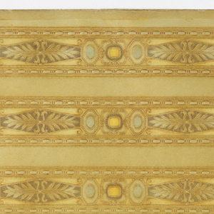 Narrow borders printed five across the width. Lozenge enframing foliate motif centered between what appears to be groups of three cut and polished gem stones each in its own setting. Narrow bands of bead and reel motif along top and bottom edges of each border. Printed in tans, ocher, blue, and green on tan ground.