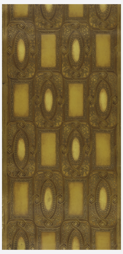 Alternating motifs of ovals and rectangles. Printed in shades of ocher and brown.