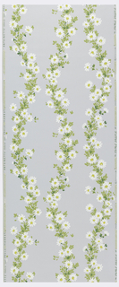 Three strands of flowing garlands of daisies forming diaper pattern. Printed on gray ground.