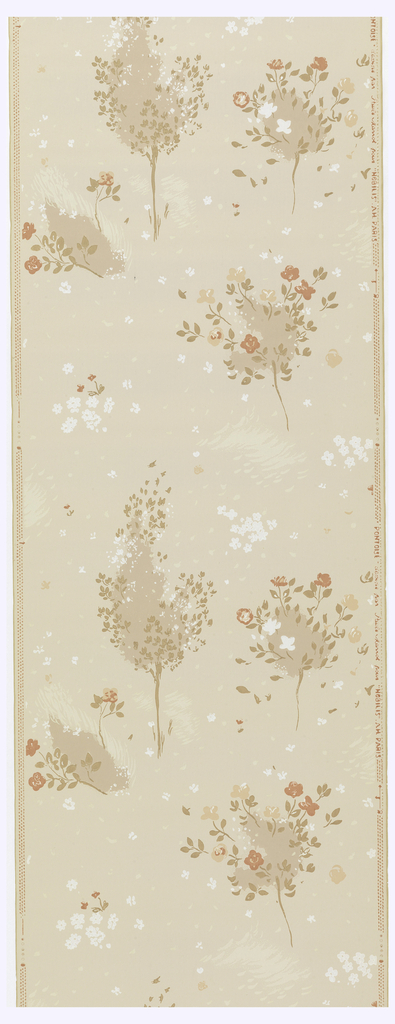 Scattering of trees and flowers, printed in taupe, orange and white on light taupe ground.