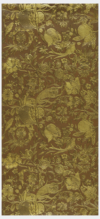 Paper embossed with monkey, tulip, pomegranate and frog. Motifs printed in gold on weave-like brown background.