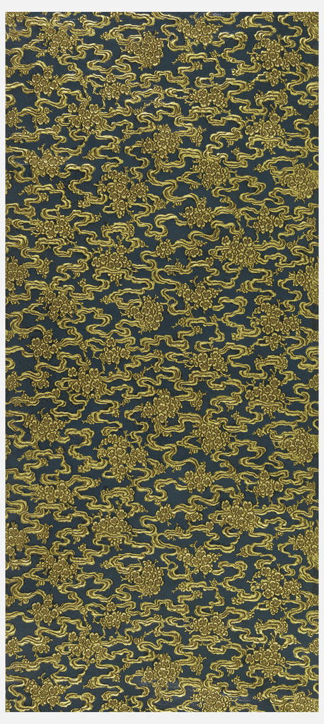 Suggestive of air or water, a current, wavy ribbon-like motif connects bunches of flowers. Embossed gold motif against deep blue background.