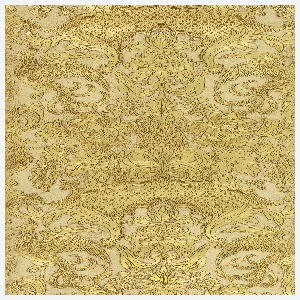 Heavily embossed. Central motif of pineapple alternating with a chrysanthemum-like flower. Large birds with exotic tail feathers, grapes, pomegranates along with many varieties of floral and foliage. Embossed area in gold with a taupe background.