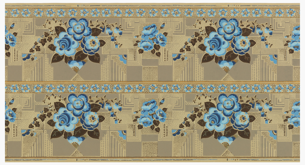 """Floral border printed two across; floral swag resting on spiky blue/white arches, with cloud motif above. Printed in blue and white on ungrounded tan paper. Printed in selvedge: """"AMT - Fabrication Francaise""""."""