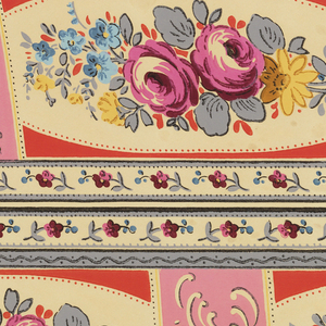 """Floral border printed two across. Pink roses with other blue and yellow flower, in framework of pink with pink beading. Pink rectangle with scrolls separates floral motifs. Small floral band along either edge. Printed in selvedge: """"15410""""."""