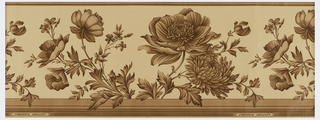 Intaglio print or sanitary paper with alternating motifs of flowers on stems, narrow band at top and wider band across bottom. Printed in shades of brown on tan ground.