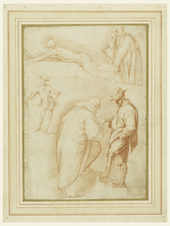 Upper row, left: nearly nude man with bald head lays on a stone slab, at right, a cloaked man with his left hand upon a stone block and his head, right elbow on his right knee. Center, left: a gentleman, walking rests his right hand upon a walking stick. Below: a man, with his left hand in his pocket walks up stairs and gives something to a barefoot and bald man (who is probably a friar) in an overcoat, seen from the back.