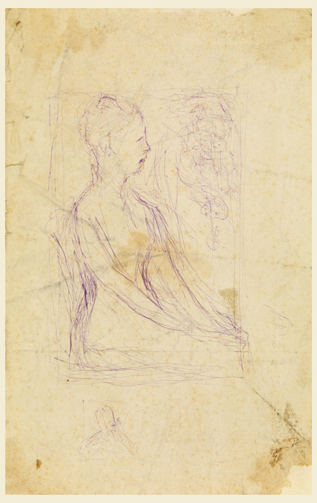 Young woman, three-quarter-length, seated with head in profile, directed to right; hands in lap.  Enclosed in rectangle with filling of curved lines in upper right corner.  Below in small square, a bust with head in three-quarter view to right.