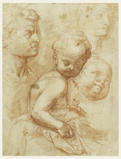 At left above is the man's head turned toward the right. In the center is the child upright sitting as in a bed. At right, above, a woman's profile, as copied after an antique statue; in the center a child's head looking upward, seen in three-quarter front.