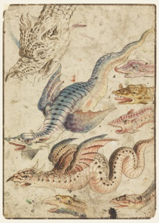 Two winged snake-like dragons and six heads of each are shown. Verso: two men on horseback in classical armor, fleeing from a burning castle in Romanesque style.