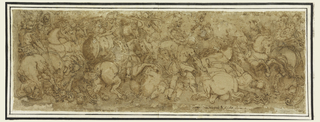 Battle scene with overlapping horses and riders.