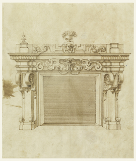 Design shows recessed fireplace with an architrave mantlepiece decorated with heavy scrollwork and a centralized mask.  Above this, the entablature includes a mask framed within an escutcheon and acanthus leaves.  Strapwork consoles decorate the sides, scrolling forward to flank drop finials.