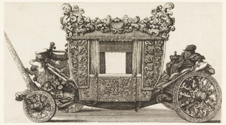 Side view of carriage with allover ornate decoration of shells and scrolls; carved figures in front and rear.