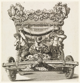 Front view of carriage with allover ornate decoration of shells and scrolls; carved figures and sea motif.