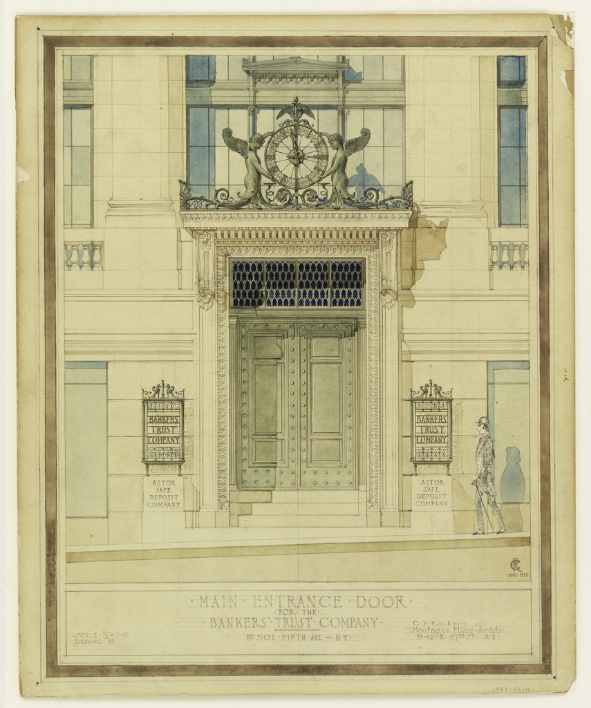 Elevation of design for main entrance to the bank building. A pair of bronze doors surmounted by grille panels, enclosed within a monumental stone frame composed of classical motifs and borders. A projecting entablature above with a clock supported by two winged figures. Lettered, lower center: MAIN-ENTRANCE.DOOR / FOR. THE . / BANKERS' . TRUST. COMPANY. / No 501-Fifth Ave-N.Y. Inscribed in lower right: C. F. Rosborg. and . / Montague. Flagg. Archts. / No 42-E. 57th St. N.Y.