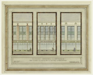 Elevation of designs for bay. Scheme A shows man walking a dog; scheme B, a woman; scheme C, a policeman.