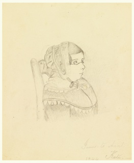 Bust-length portrait of a woman, seated in a chair, with only back of chair visible, facing proper left, seen almost in profile. She wears a cap and glasses.