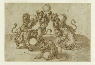 "Six lions, in various attitudes, juggle with large balls, representing the ""palle"" on the Medici arms."