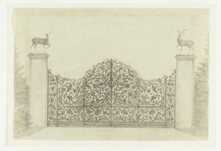 Design for a wrought iron gate with bird and foliate patterns, scrolls and leaves. The central element is surmounted by a pine cone. Sculptures of deer surmount the two side pillars. Design is constructed of collaged pieces of paper mounted to backing sheet. Left, right and top edge added to extend the sheet. On these edges, trees are indicated. Verso: in graphite, sketches for two alternate concepts for gates, one including a figure for scale.