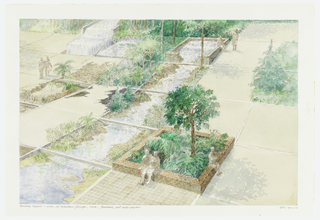 Detailed view of people seated on square brick wall; planters beside water cascading through grid.