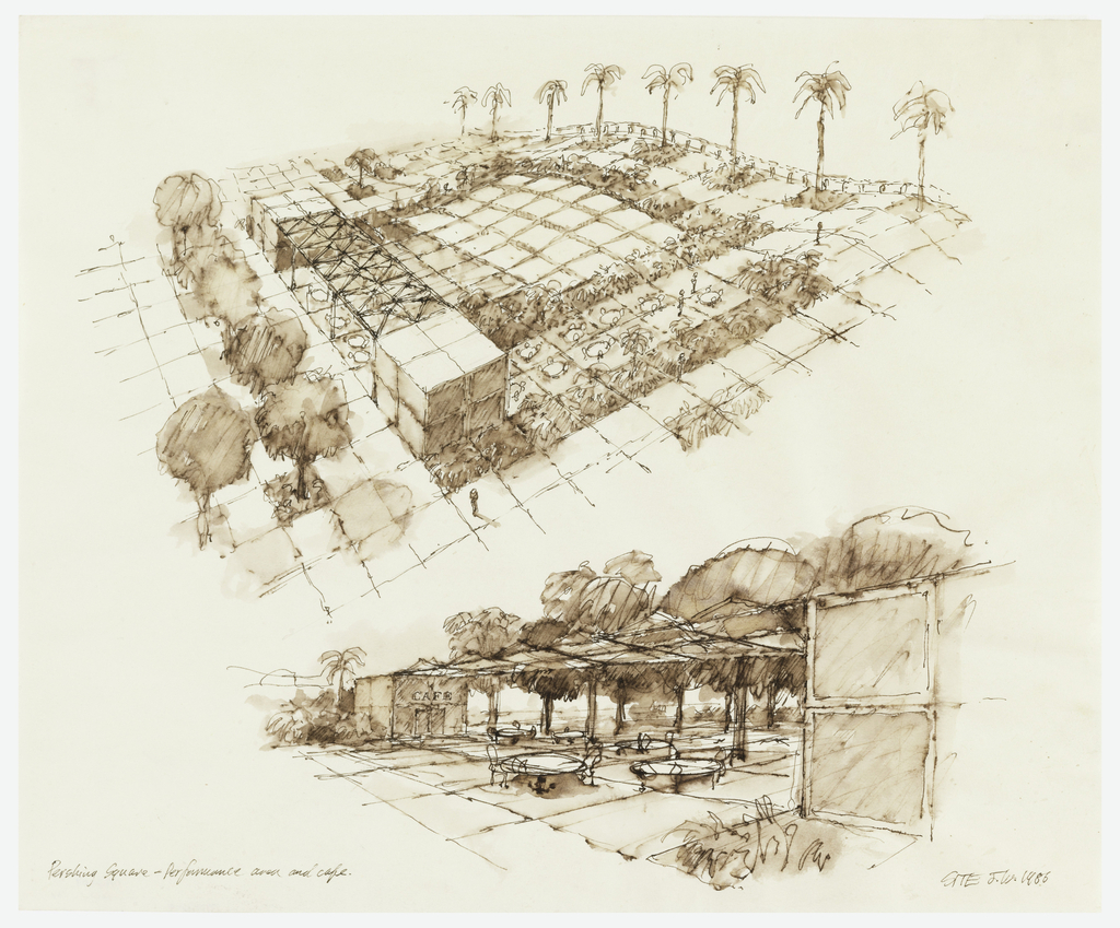 Two views: upper center, aerial view showing performance area, grid, and trees on periphery; lower center, cafe showing tables under canopy, trees beyond see related Pershing Square drawings: 1993-115-1/3; 1993-115-5/6.
