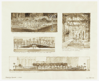 Four views including top left, overall night view with plaza grid lines lit from within; outer left, elevation shows undulating peripheral edges which serve as shelter and pedestrian access, top right, floral displays and fountains, bottom, elevation showing processional features.