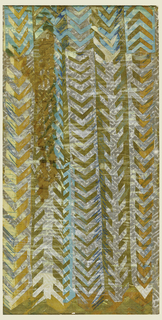 Vertical design of silver, orange, gold, blue, and turquoise stripes with chevron decoration on gold ground.  Verso:  Horizontal design of seven-branched menorah with vertical tree branches at left; framing lines drawn on top of design.