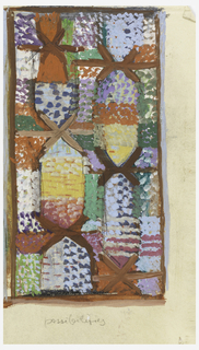 """Vertical rectangle filled with irregular colored sections that in some areas create an """"X""""-shaped pattern."""