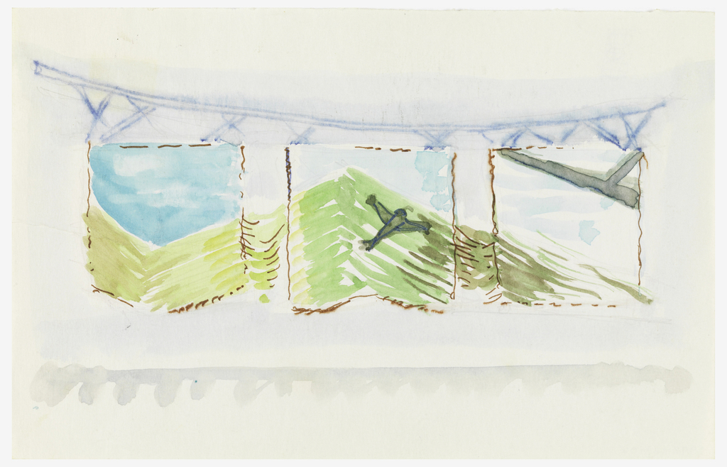 Drawing, Design for Woven Hanging, Triptych Over a Blue Couch