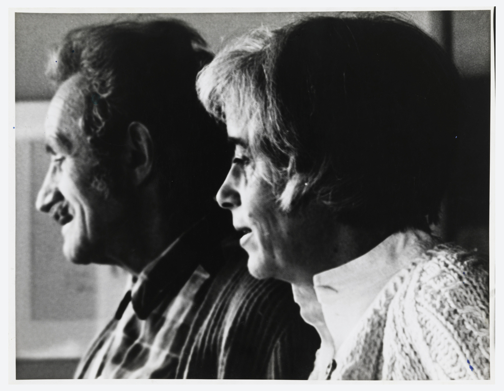 Black and white photograph of Trude Guermonprez  and her husband John Elsesser in profile facing left:  Trude in foreground, John behind and a little forward of Trude.