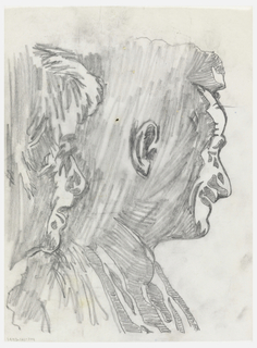 Tracing of the photograph of Trude and John in profile facing left (1993-121-103), with patches of shadow hatched-in forming abstract shapes.  This sketch represents second stage in the design process toward a finished tapestry.  See also 1993-121-107,109,110.