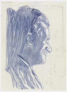 Profile of John Elsesser, facing left, quickly painted in blue, profile of Trude Guermonprez, originally on the right,  brushed over with strokes of paint.
