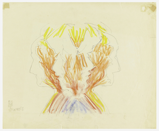 Repeating profiles of Trude Guermonprez and John Elsesser, facing left and facing right.  Red, orange, red, and blue crayon is applied in individual strokes to areas of paper between the profiles.  Based on 1993-121-103 or 104.
