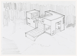 Design for a house in two L-shaped sections separated by courtyard. each section is comprised of geometric shapes  with possibility of interlocking. First floor space appears to be open. Square-patterned floor of courtyard leads to patio. The two sections appear to be pulled apart. Matted with 1995-46-2.