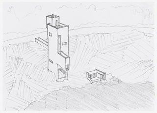 Design for narrow vertical house sited on steep slope; door at top of house leads to roof patio; walkway leads from middle of house to road; small square windows; small L-shaped out building to right of house. Matted with 1995-46-1.