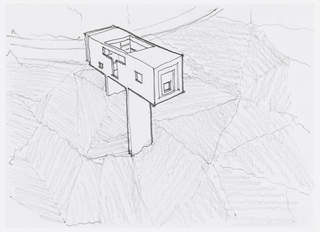 Design for a T-shaped house, with a T-shaped window opening and two square-shaped windows on same wall; square skylight and inset square window at overhanging end of house. House appears to be on hillside delineated by interlocking triangles. Matted with 1995-46-3.