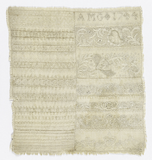 Rectangle of rather heavy cream linen, worked in linen in rows of many embroidery stitches, drawnwork. and a few bands of floral designs. At the top right, the initials AMG 1744.