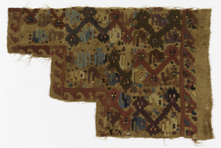 "Fragment, irregularly cut, showing small-scale highly abstract polychrome pattern of cats, geometric shapes and dots on buff ground. Ground is of tightly S-spun undyed weft which is used only where color is needed, interlacing back and forth in color area with ""weft onlay"" since pattern weft does not enter teh shed of the ground weft. Loom ending at top of fragment, one selvage on right side."