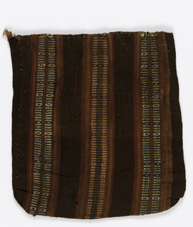 Small flat bag woven in stripes of red, brown and decorated with narrow cream-white and green stripes. Hand sewn with sides stitched together to form bag. warp selvage for bag opening