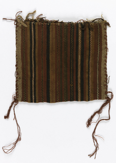 Small flat bag woven in stripes of red, black, and brown. Hand stitched at sides with red wool to form bag. warp selvage for bag opening