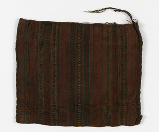 Small bag, woven in narrow stripes of red, dark green, and brown. Hand stitched at sides to form bag. Warp selvage for bag opening