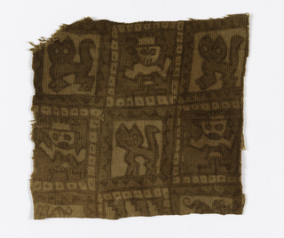 Small square of light brown cotton, painted in two shades of brown. Pattern showing alternately an animal and a human shape. One selvage intact.