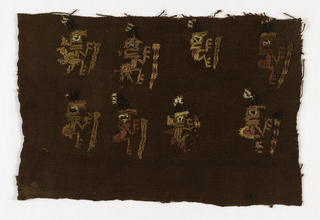Fragment of a larger fabric patterned by small standing figures holding sticks - two rows each of four figures.  Selvedge at left side and bottom remaining.