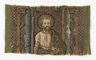 Part of an orphrey with the head of a saint.
